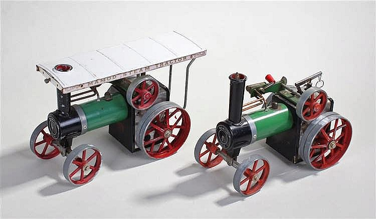 Two Mamod Steam Tractors, painted in green, both numbered TE1A, (2)