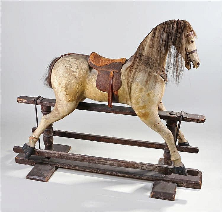 Victorian rocking horse, with a pony skin covered body of generous proporti