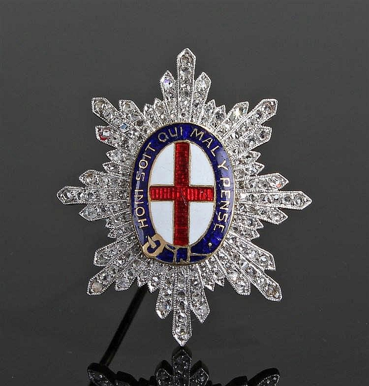 Gold enamel and diamond set Order of the Garter, the enamel centre with Lat