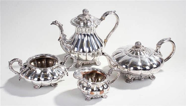 Sheffield plate tea service, to include teapot, coffee pot, sugar bowl and