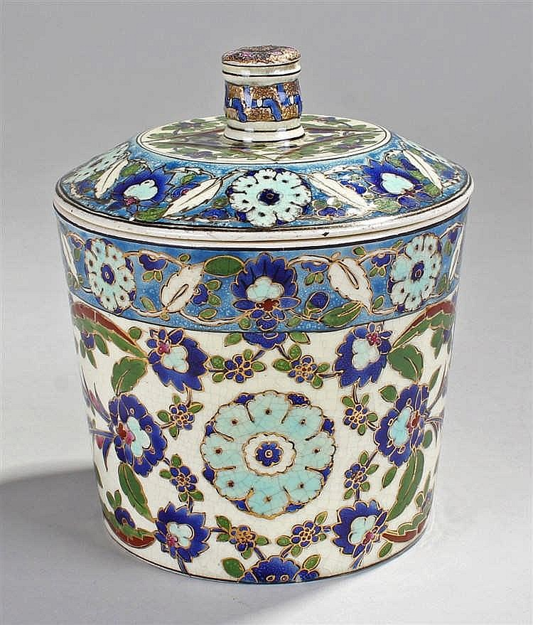 Fischer of Budapest jar and cover, the circular cover decorated in enamels