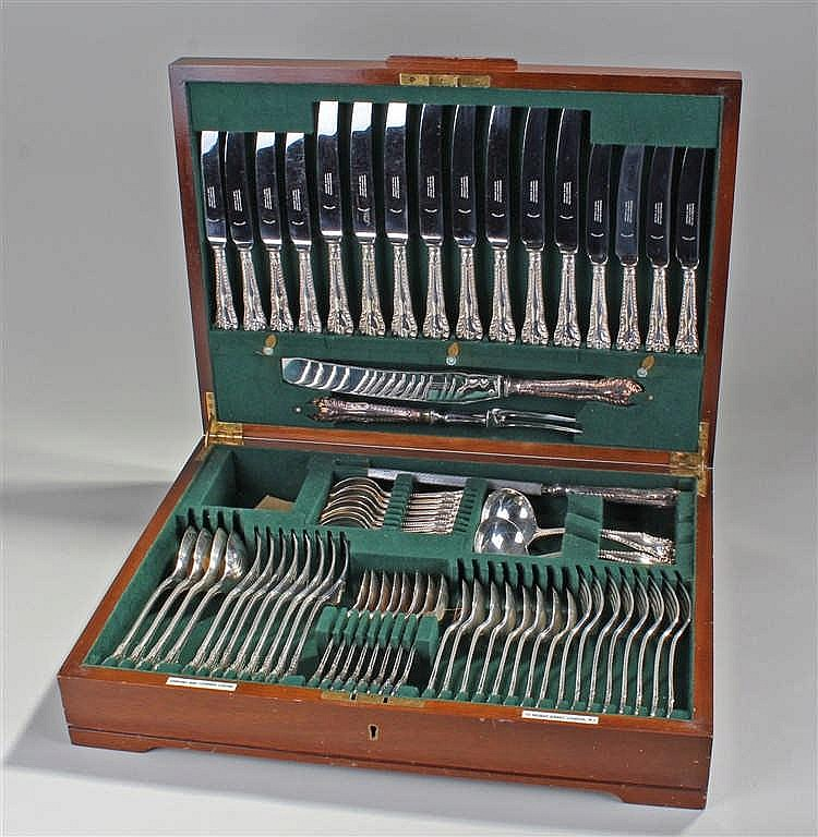 Garrard & Co silver plated eight piece canteen of cutlery, consisting of fo