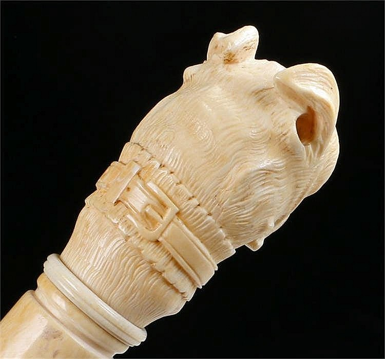 victorian ivory bull dog head walking stick the well carved. Black Bedroom Furniture Sets. Home Design Ideas