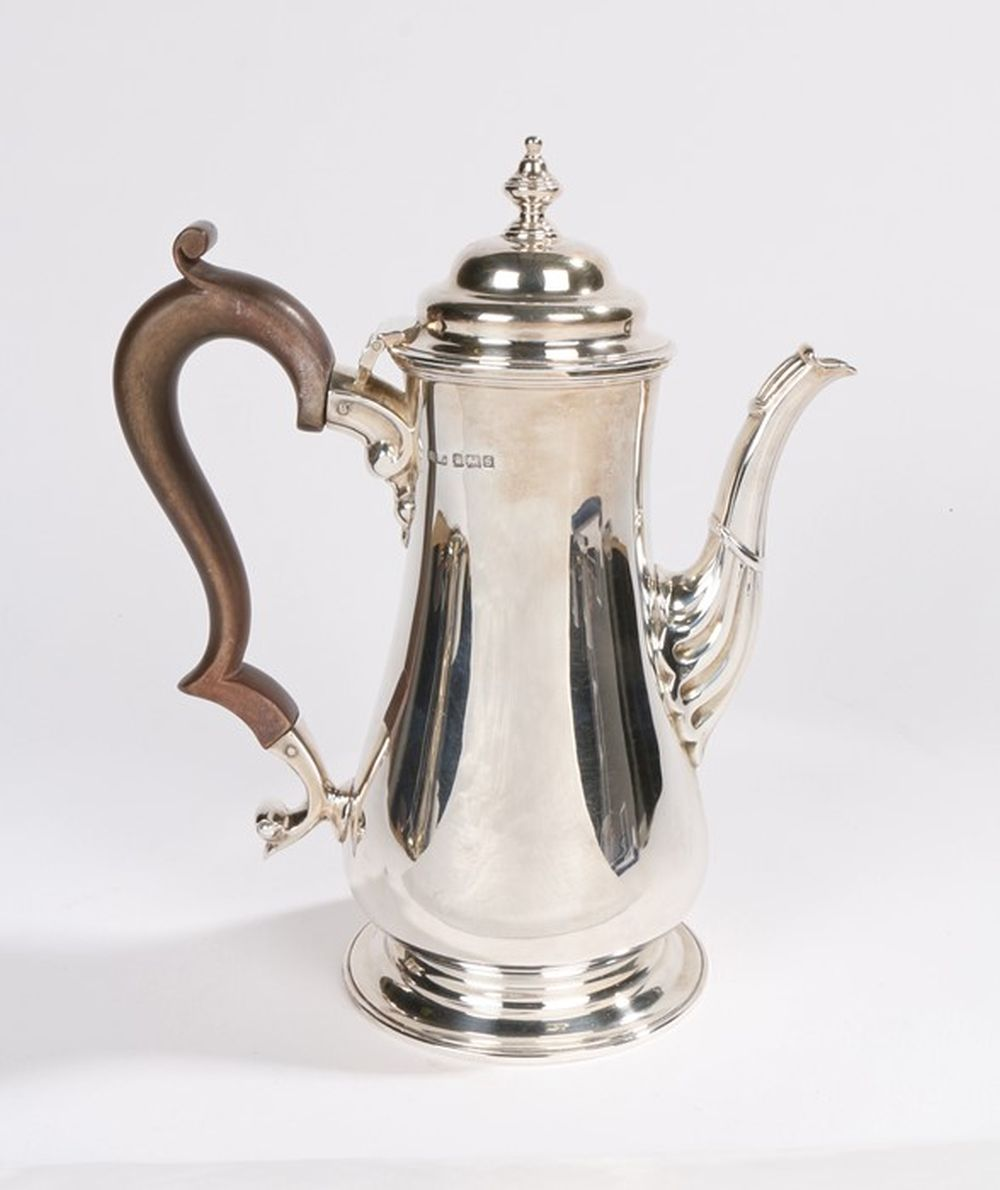 George V silver coffee pot, Sheffield 1910, maker Henry Stratford Ltd, with stepped cover, scrolled