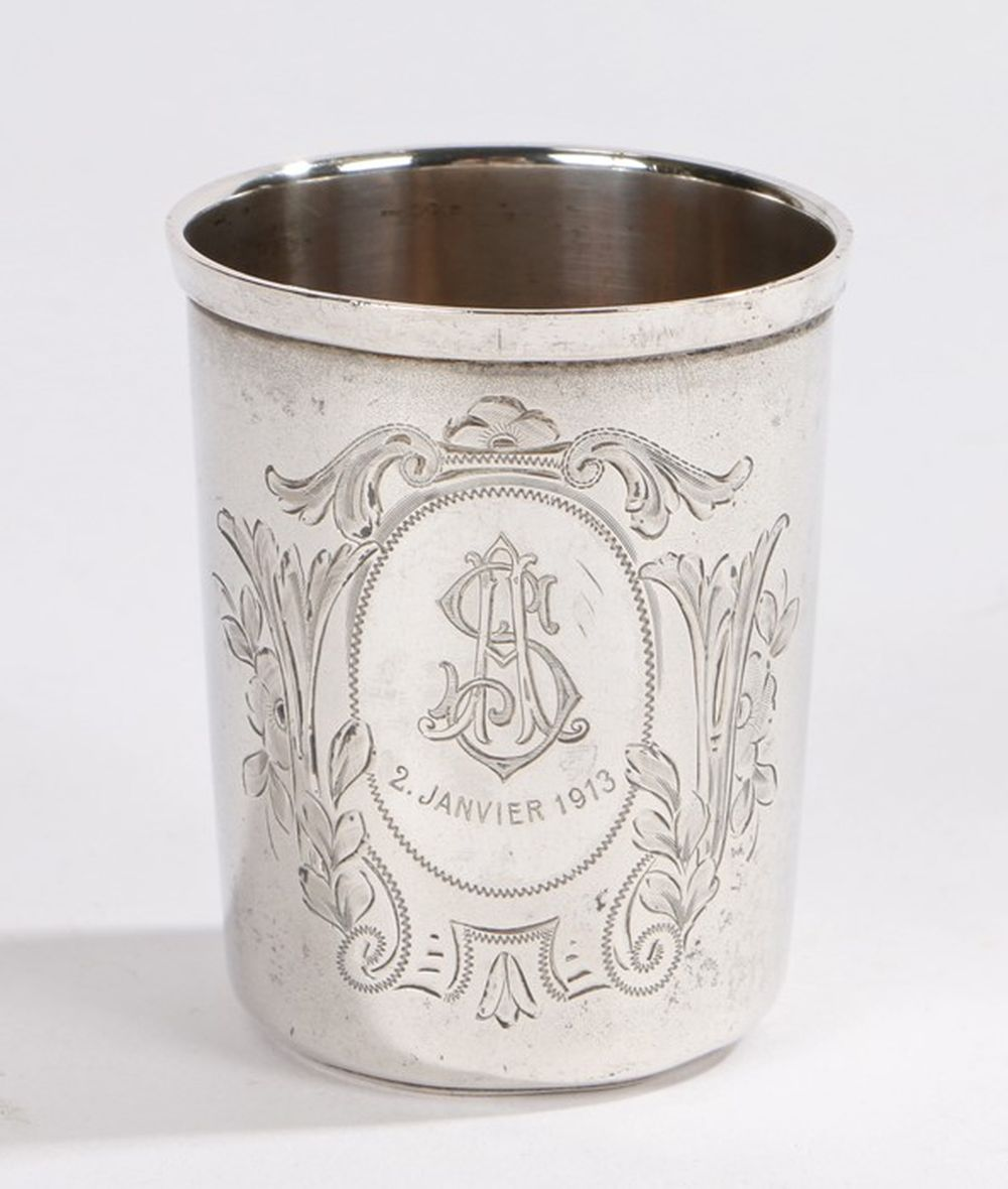 """Continental silver Vodka tot cup, with central oval cartouche monogrammed """"SA 2 Janvier 1913"""" surrou"""