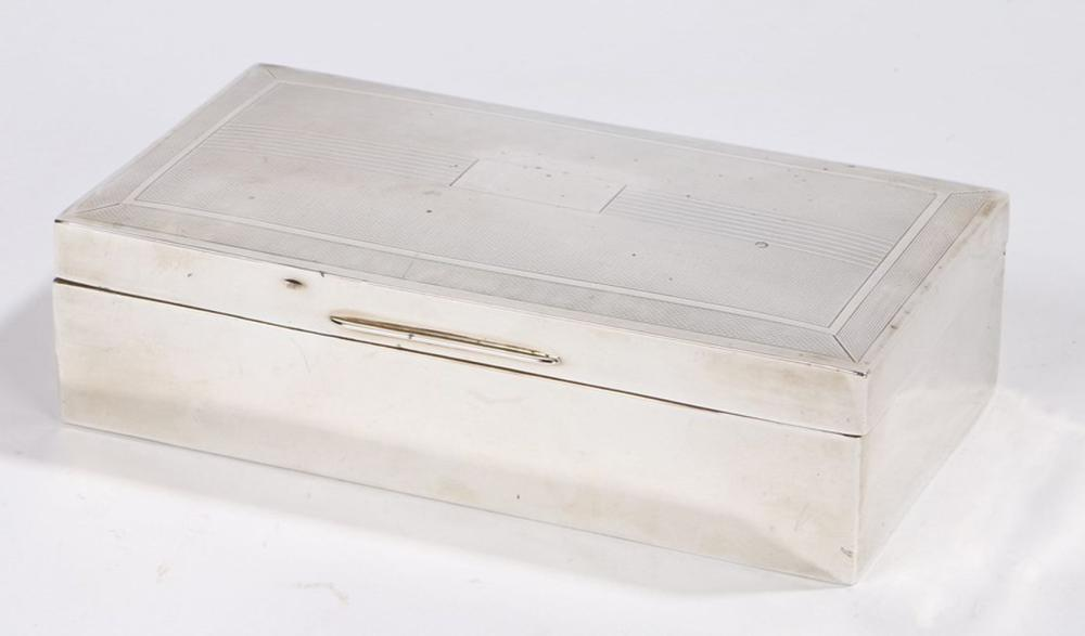 George VI silver cigarette case, Birmingham 1950, makers mark rubbed, of rectangular form, the engin