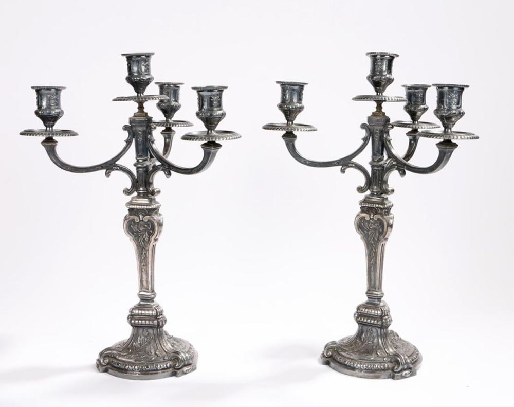 Pair of early 20th century Christofle Gallia metal candelabra, the sconces with cast scroll decorati