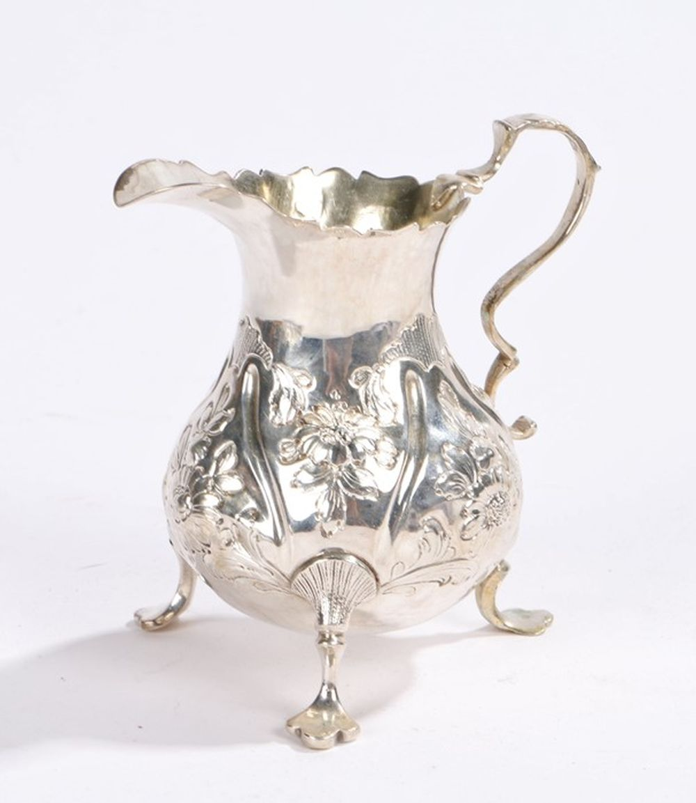 George II silver cream jug, London 1757, maker possibly David Mowden, with acanthus leaf capped doub