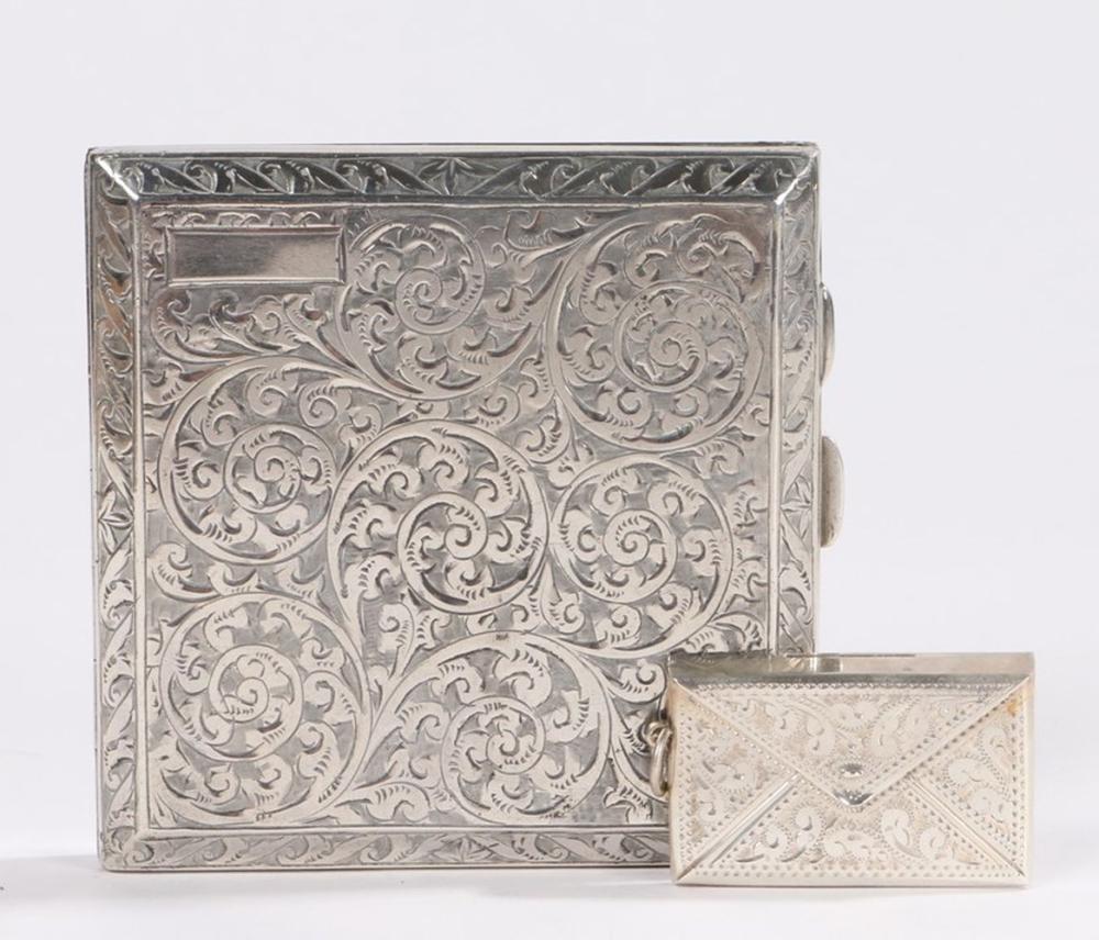 George V silver cigarette case, Birmingham 1926, maker Frederick Field Ltd, the scroll engraved exte
