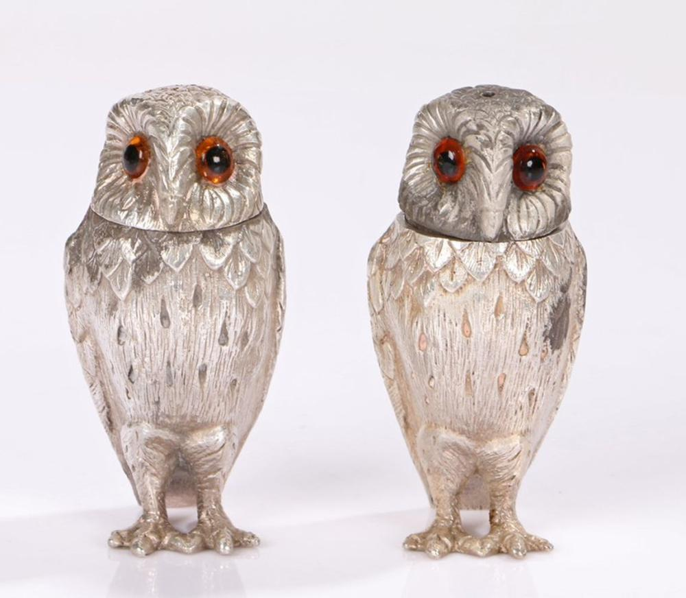 Pair of Elizabeth II silver owl form condiment pots, London 1958 and 1961, maker William Comyns & So