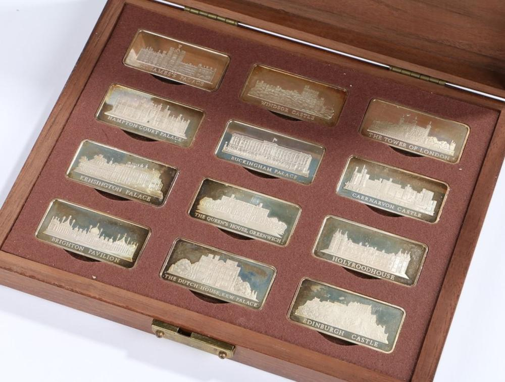 Birmingham Mint Royal Palaces, a collection of twelve solid sterling silver ingots, housed in a fitt