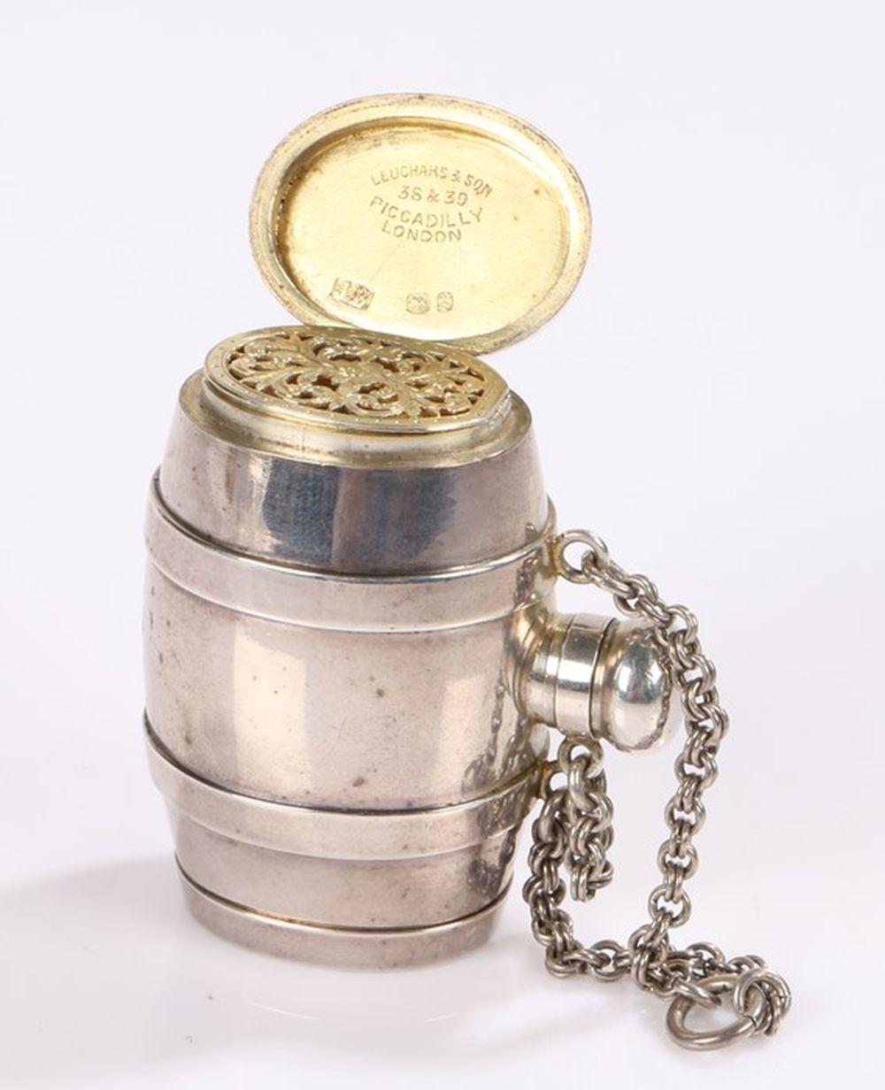 Victorian novelty silver scent bottle/ vinaigrette/ pill pot, London 1870, maker JB, of barrel form