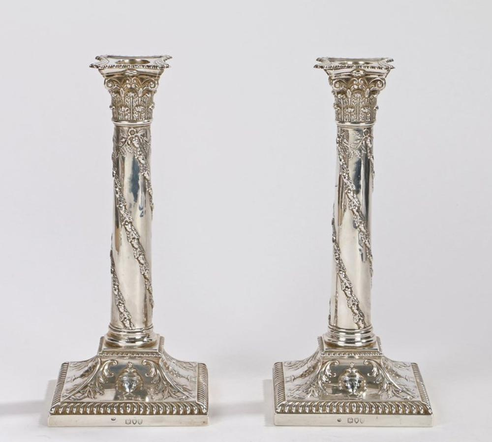 Pair of Victorian silver candlesticks, London 1895, maker Thomas Bradbury & Sons, with gadrooned det