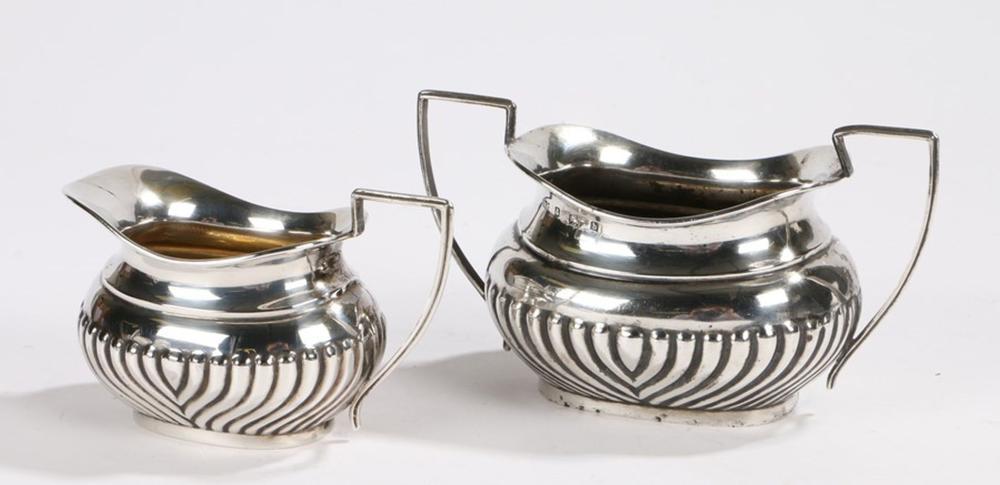Edward VIII silver milk jug and sugar bowl, Birmingham 1901, maker Robert Pringle & Sons, with reede
