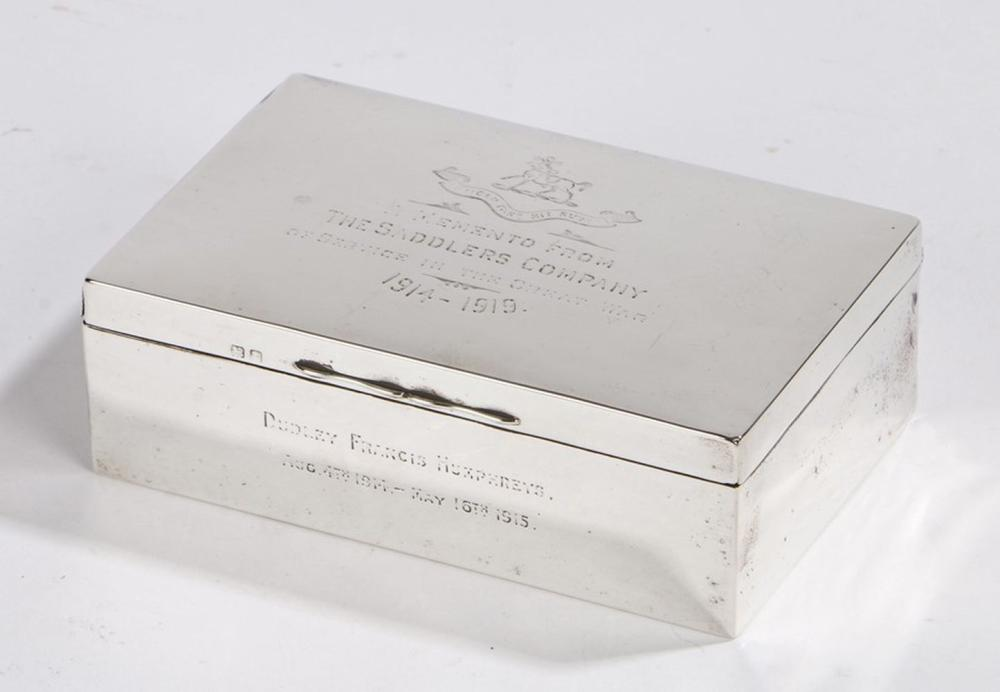George V silver cigarette box, Birmingham 1918, maker Walker & Hall, the cover engraved with the cre