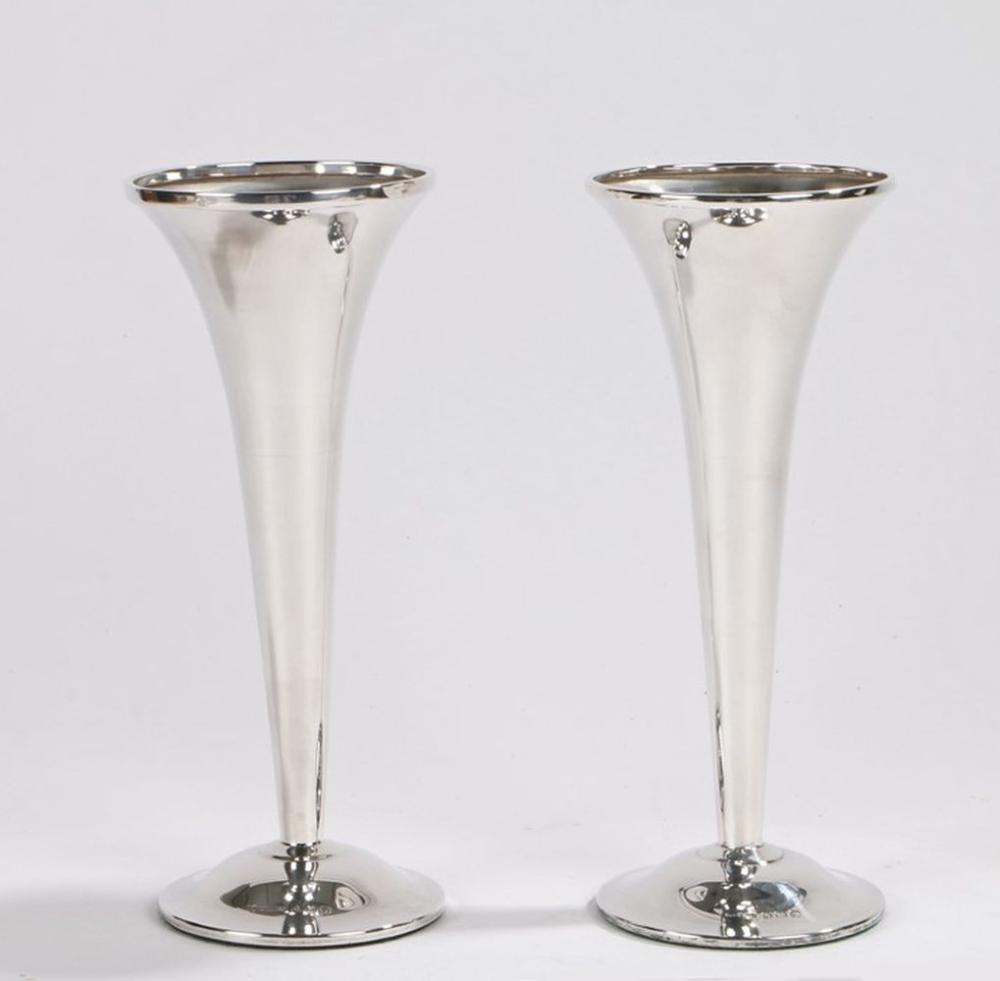 Pair of George V silver tulip vases, Birmingham 1920, maker S Blanckensee & Sons Ltd, with flared ri