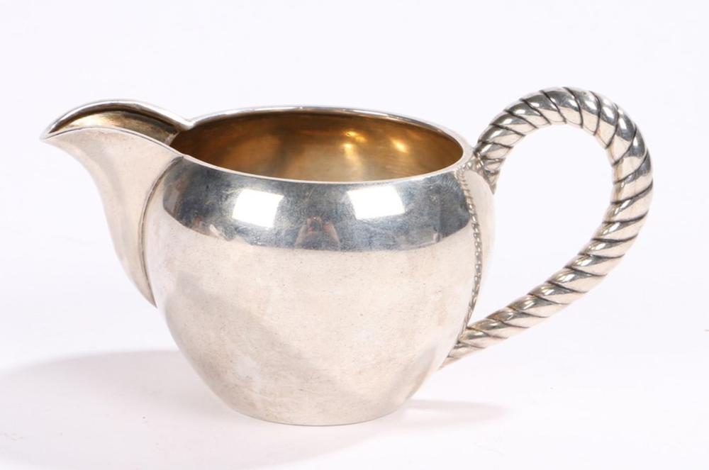 Russian 84 zolotnik silver cream jug, with rope twist loop handle and bulbous body, 5.2oz