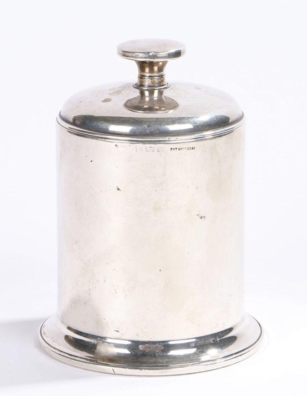 George VI silver cigarette dispenser, Birmingham 1937, maker Joseph Gloster Ltd, of cylindrical form