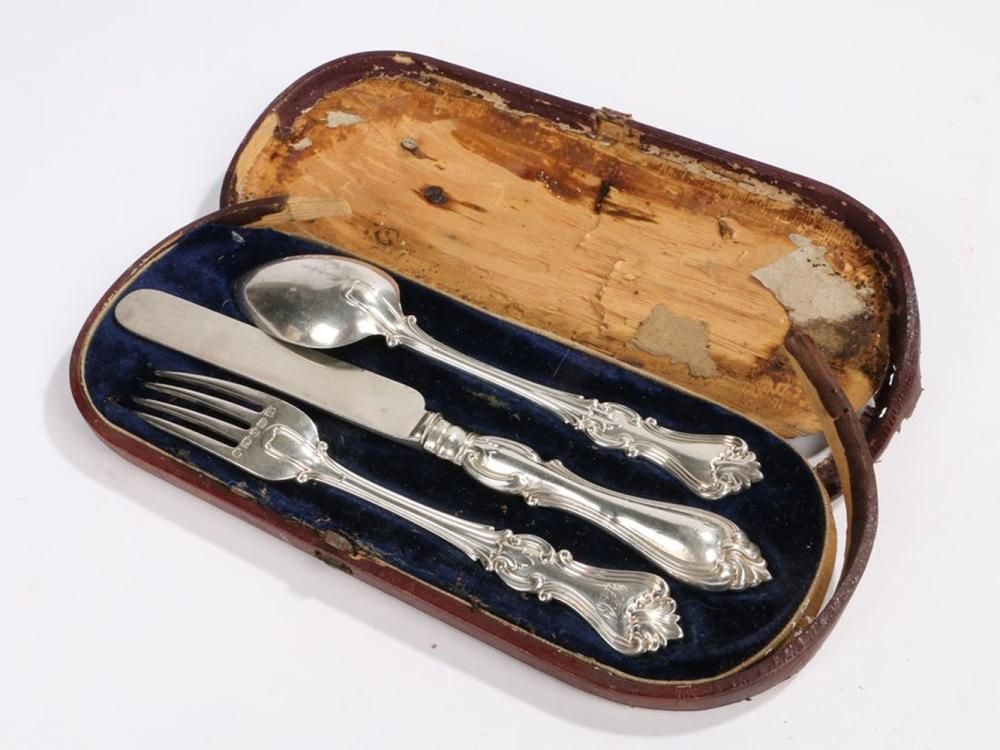 Victorian silver christening set, Sheffield 1859, maker Henry Wilkinson & Co, consisting of knife, f