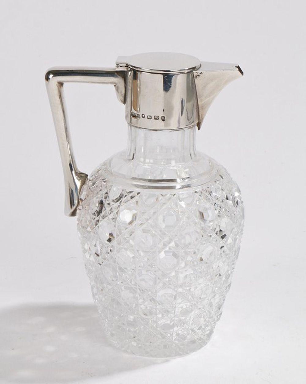 Victorian silver mounted claret jug, Birmingham 1886, maker John Grinsell & Sons, with angular handl