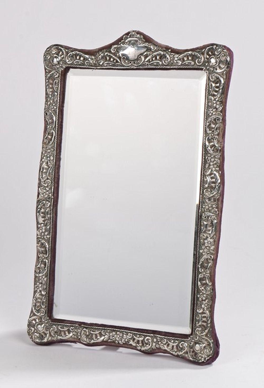 Edward VII silver dressing table mirror, Birmingham 1903, maker Henry Matthews, with bevelled mirror