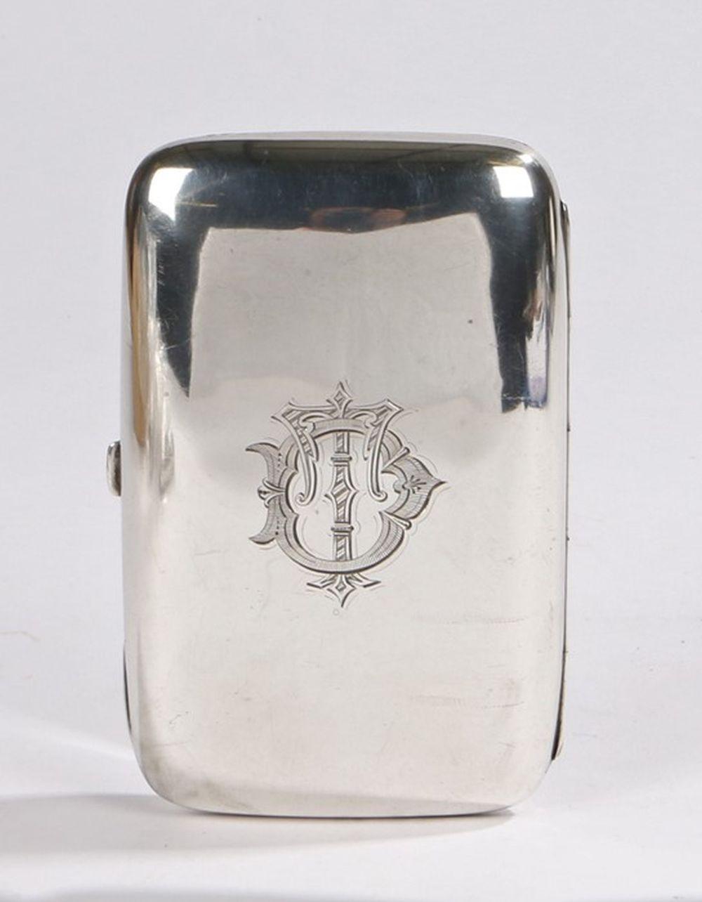 Victorian silver cigar case, Birmingham 1898, maker Joseph Gloster, the exterior monogrammed TD, wit