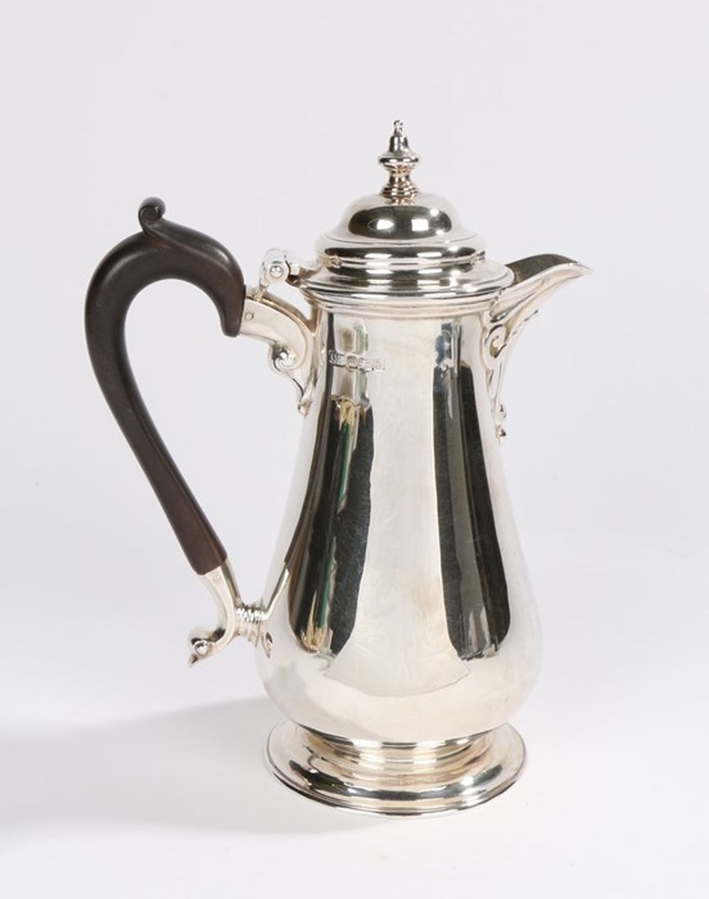 Edward VII silver hot water jug, Sheffield 1906, maker Harrison Brothers & Howson (George Howson), w