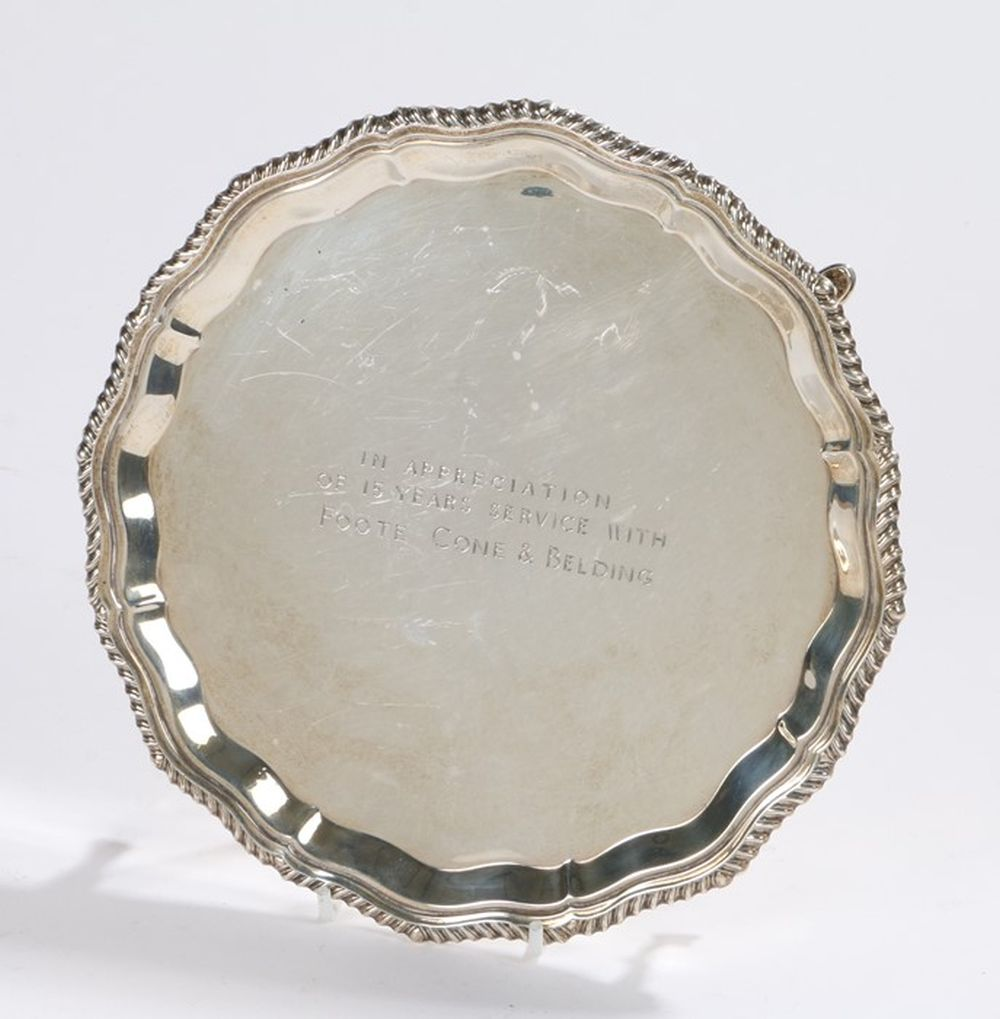 Elizabeth II silver card tray, London 1968, maker Henry Hodson Plante, with gadrooned border, the ce