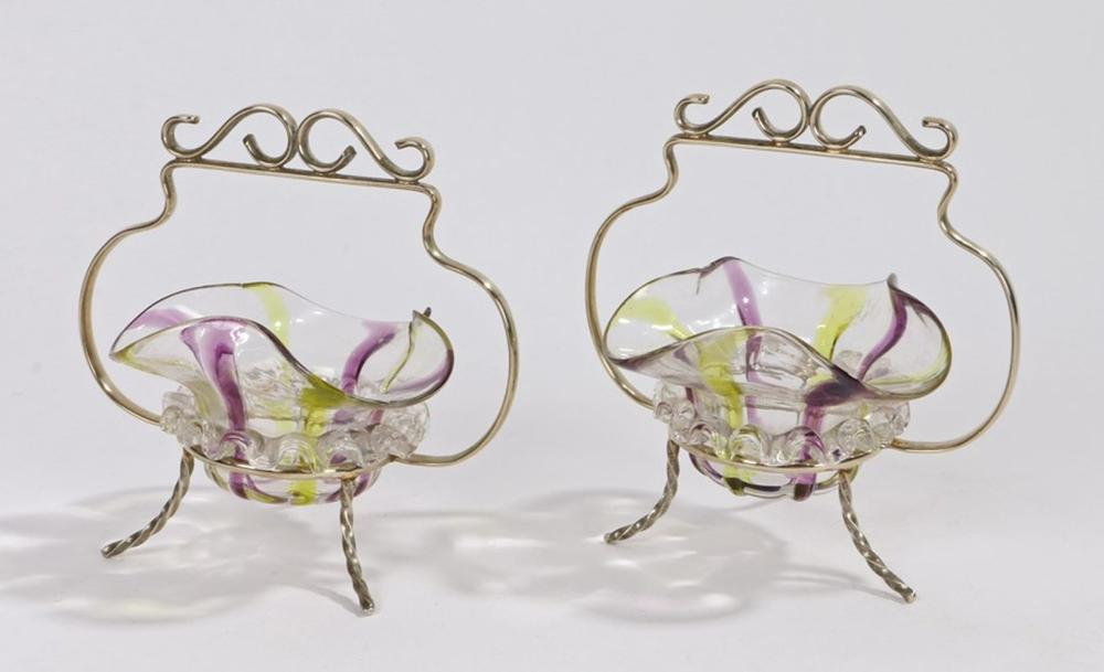 Pair of Edwardian glass and plated dishes, the clear, yellow and purple trefoil form glass dishes ho