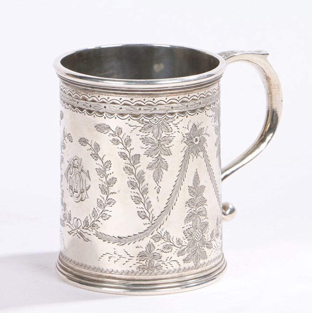 Victorian Scottish silver mug, Edinburgh 1873, the base stamped Marshall & Sons 87 George Street Edi