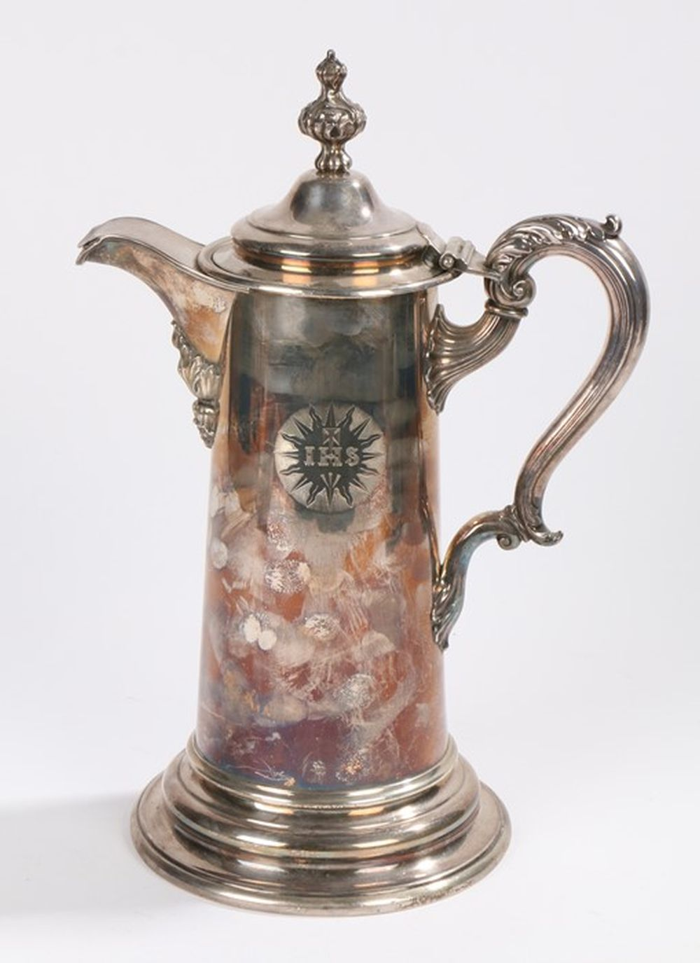 Silver plated ecclesiastical Baptismal jug and cover, with gadrooned finial to the domed lid, acanth