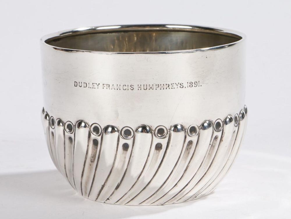 "Victorian silver sugar bowl, London 1890, maker Charles Stuart Harris, engraved ""Dudley Francis Hump"