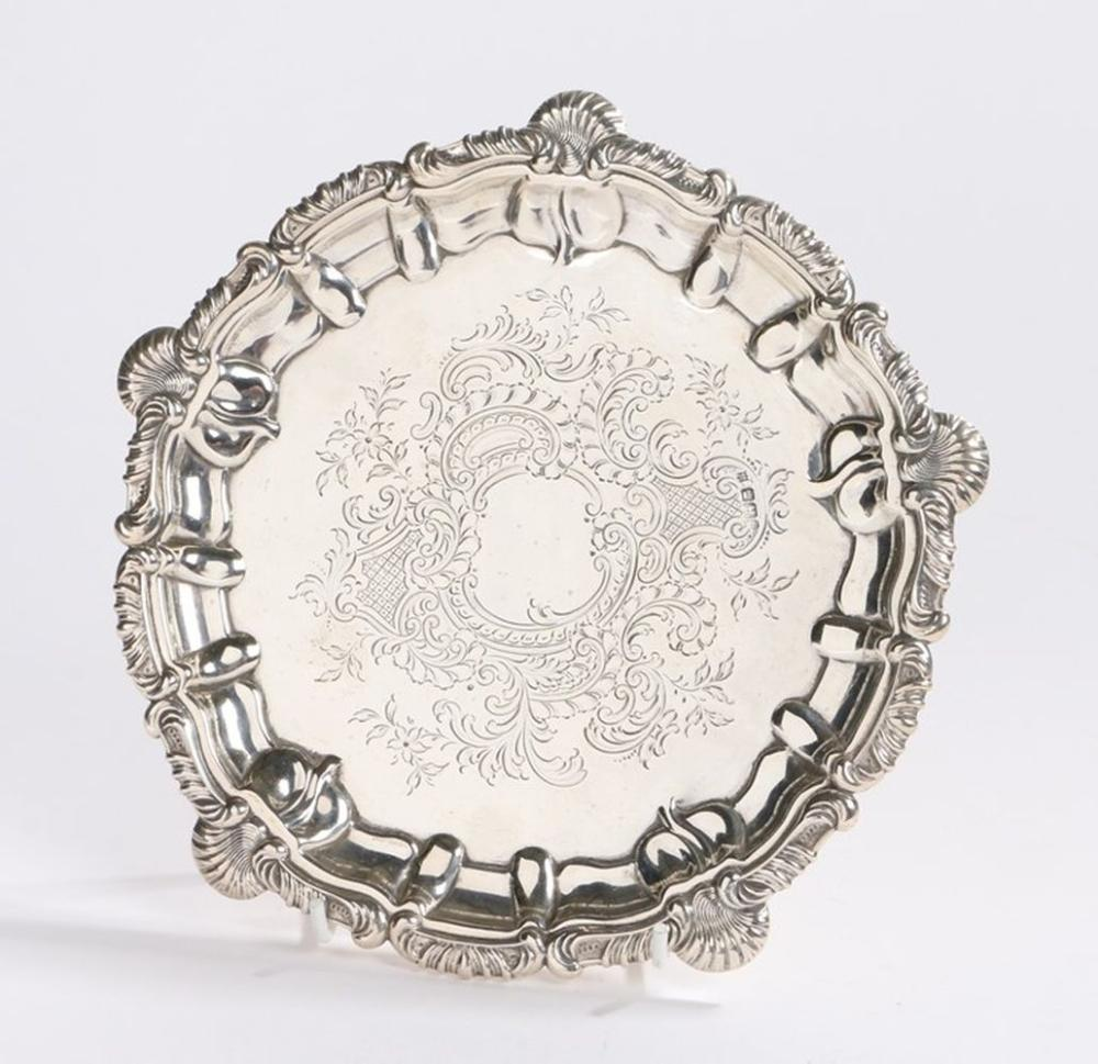 Victorian silver card tray, Sheffield 1900, maker Watson & Gillott (William Watson & Herbert Gillott