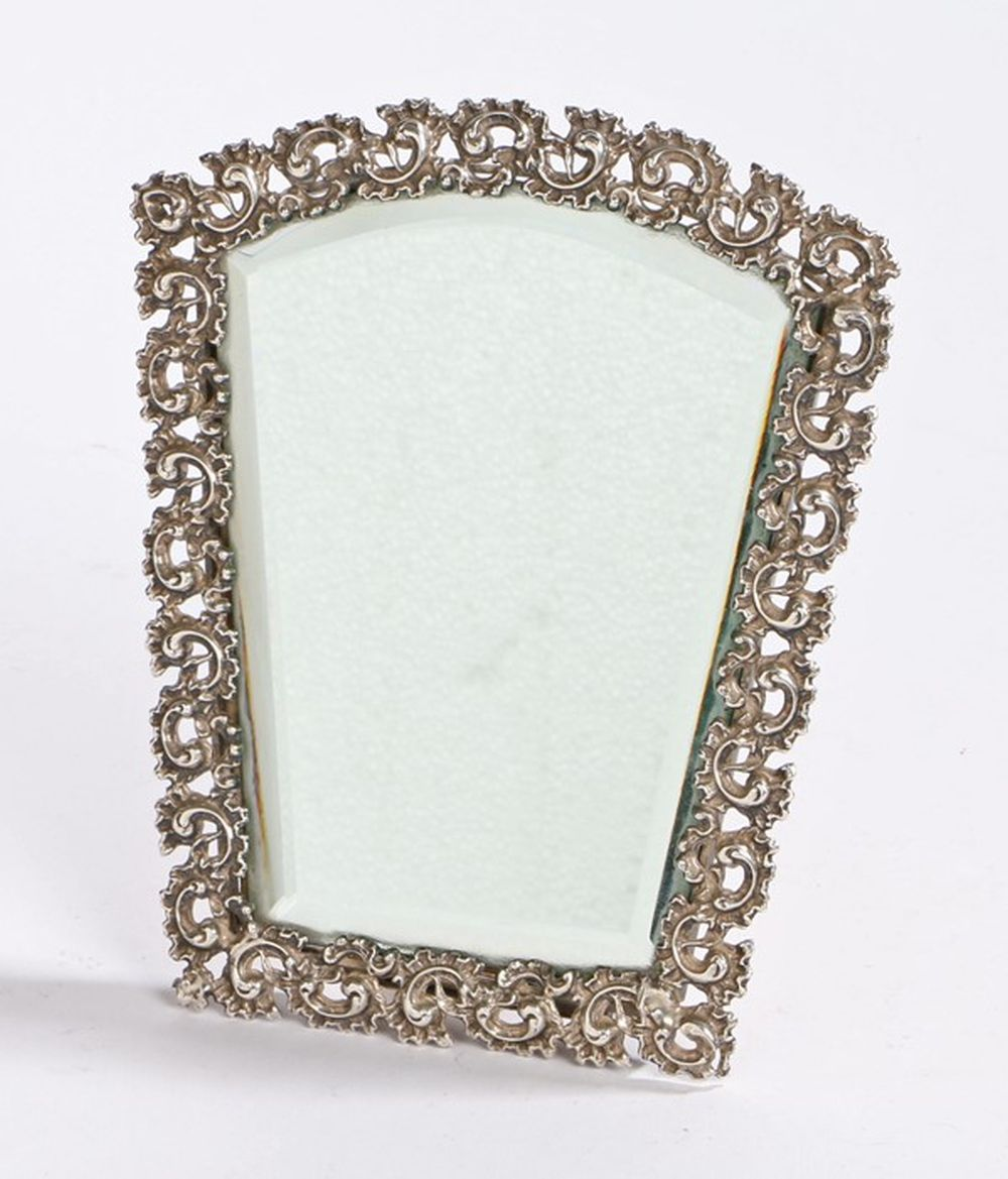 Late 19th/ early 20th Century folding hand/dressing table mirror, the arched bevelled glass mirror p