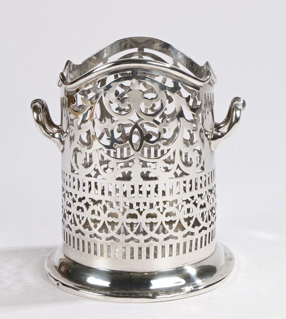 George V silver bottle carrier, Sheffield 1913, maker Maxfield & Sons Ltd, the cylindrical body with