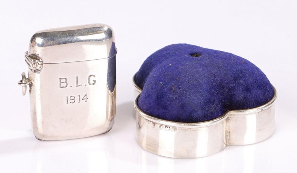 George V silver vesta case, Birmingham 1913, maker W H Haseler Ltd, the exterior engraved B.L.G. 191
