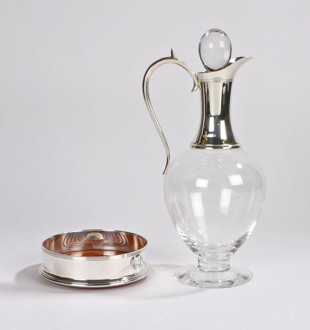 Elizabeth II silver mounted glass claret jug and coaster, London 1998, maker Garrard & Co Ltd, the c