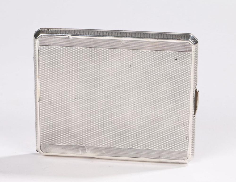 Art Deco silver cigarette case, Birmingham 1934, maker Frederick Field, with a rectangular engine tu