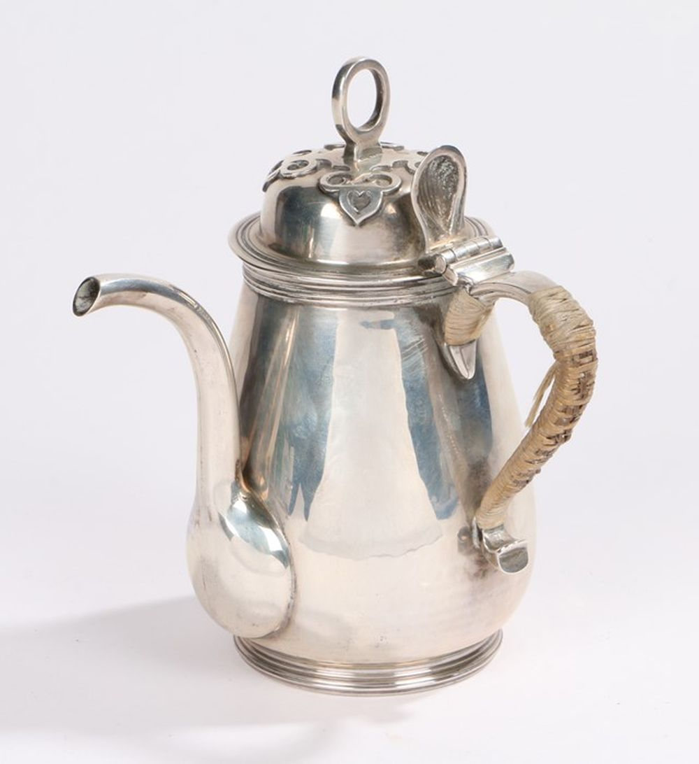 George V silver chocolate pot, London 1932, maker Heming & Co. the hinged lid with loop form finial