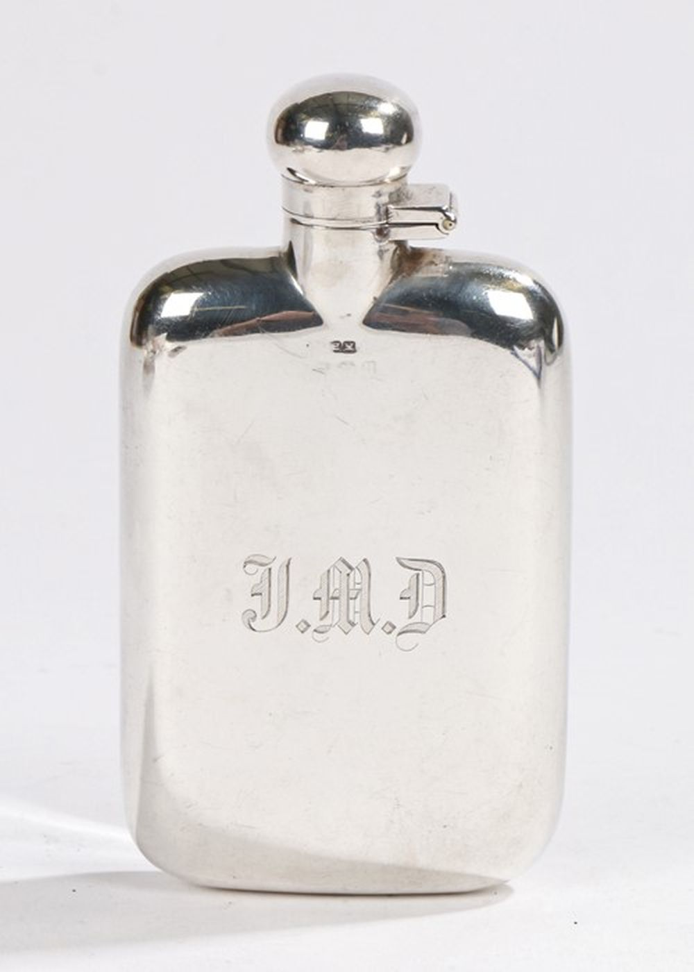 Early 20th Century silver hip flask, Birmingham marks rubbed, maker Henry Matthews, with bayonet fit