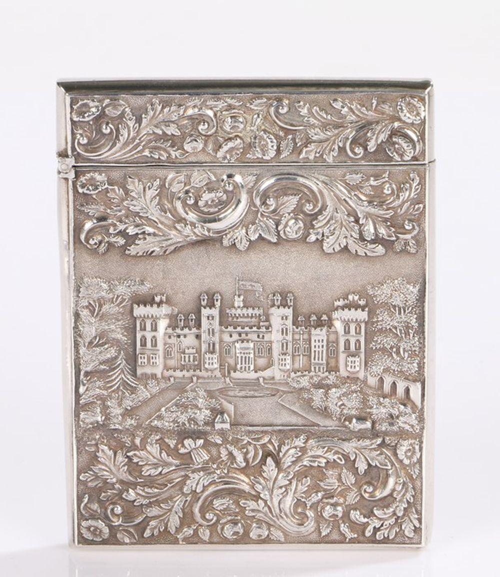 "Fine Nathaniel Mills Victorian silver ""Castle Top"" card case, Birmingham 1837, the foliate and scrol"