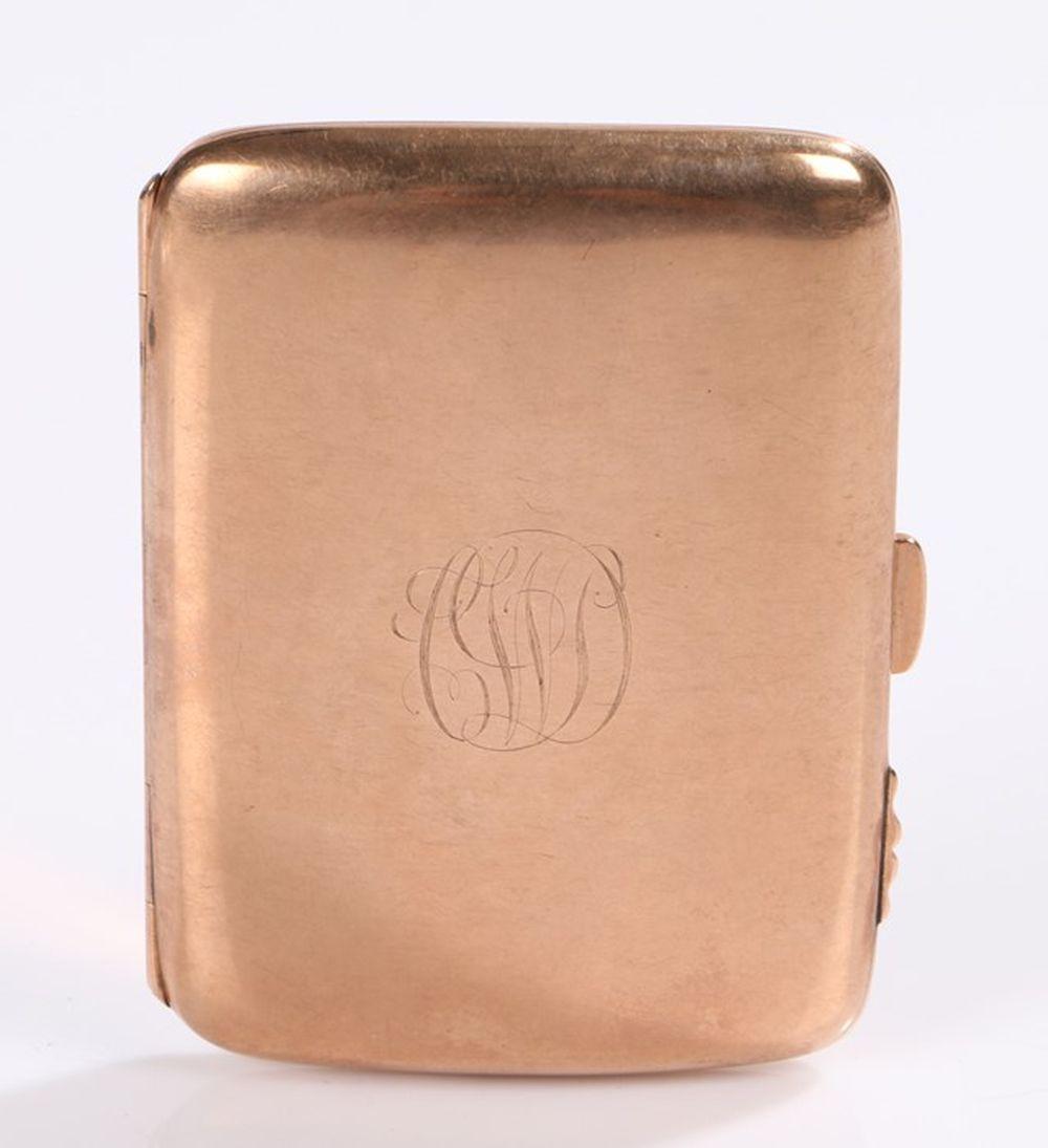 9 carat gold cigarette case, the rectangular case with an internal inscription 'Presented to G Walla