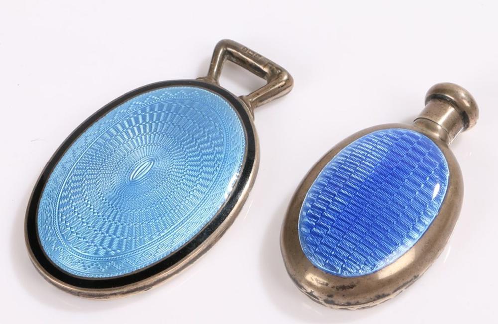 George V small silver dressing table mirror, Birmingham 1923, wih blue and black enamel decoration a