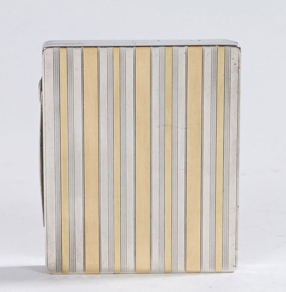 """Continental silver case, with gilt banded decoration, the gilt interior engraved """"A.F.P from Mardi A"""