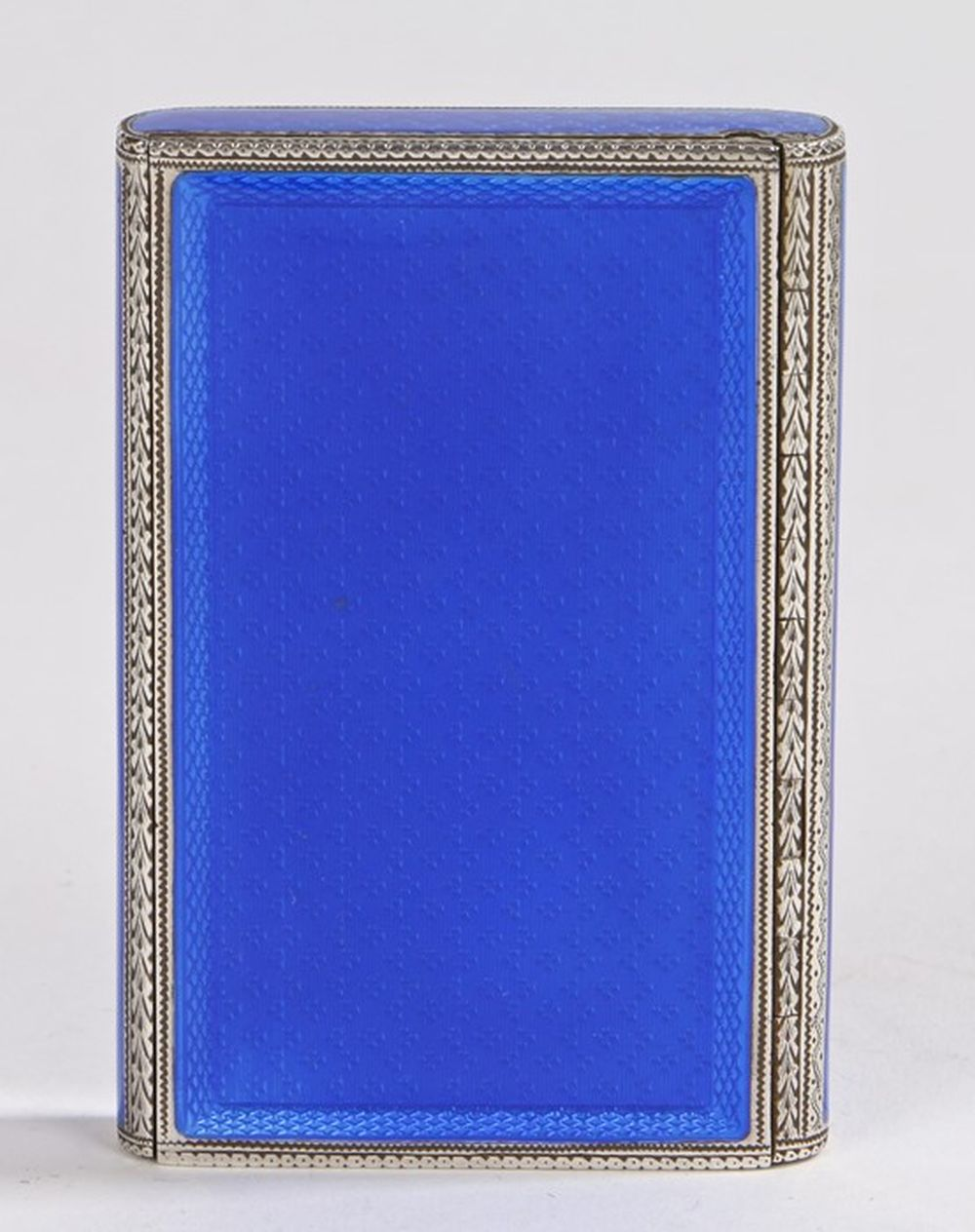 Continental silver guilloche enamel box, with blue enamel exterior, sliding mechanism opening to rev