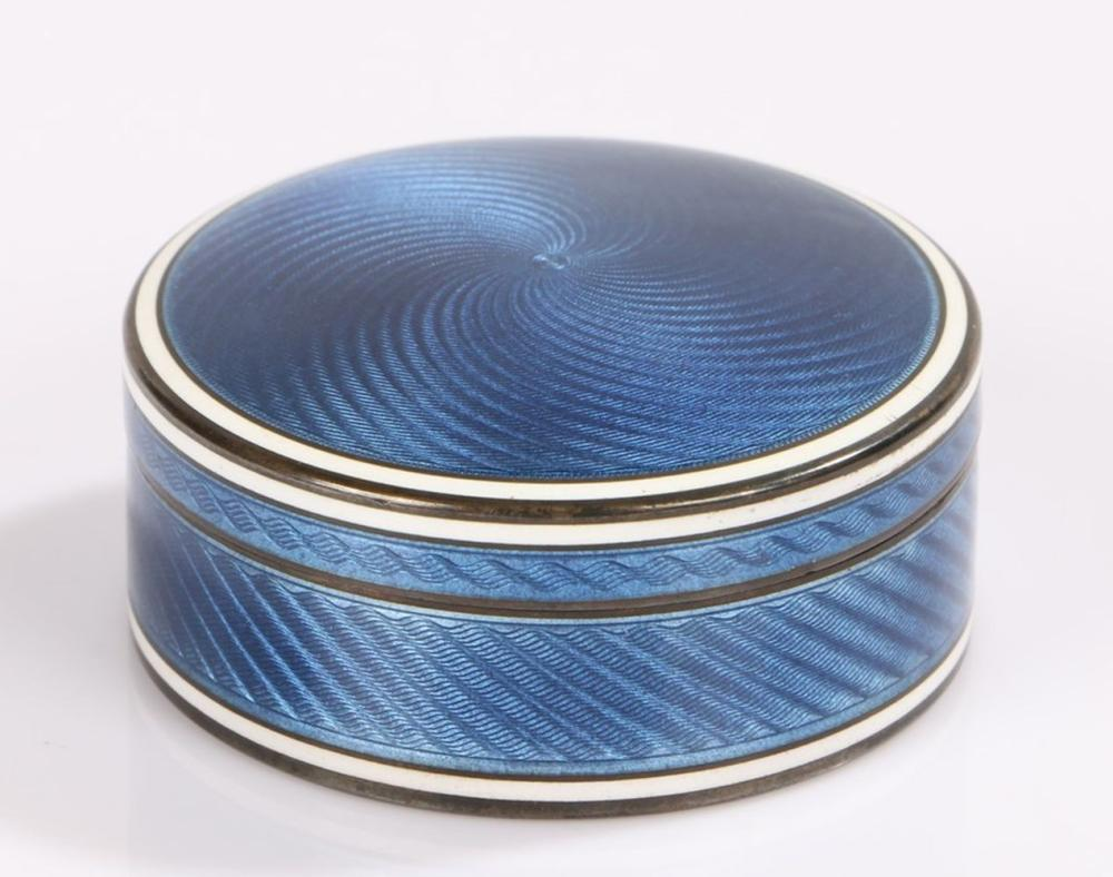 Continental silver guilloche enamel box and cover, of cylindrical form, with blue and white enamel e