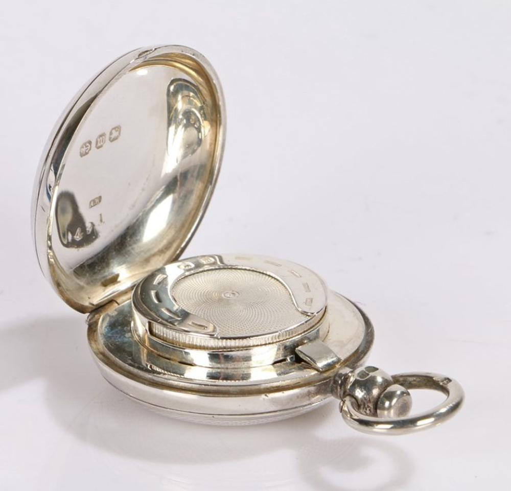 Victorian silver sovereign case, Birmingham 1896, maker Alfred Wigley, of pocket watch form, ring fi