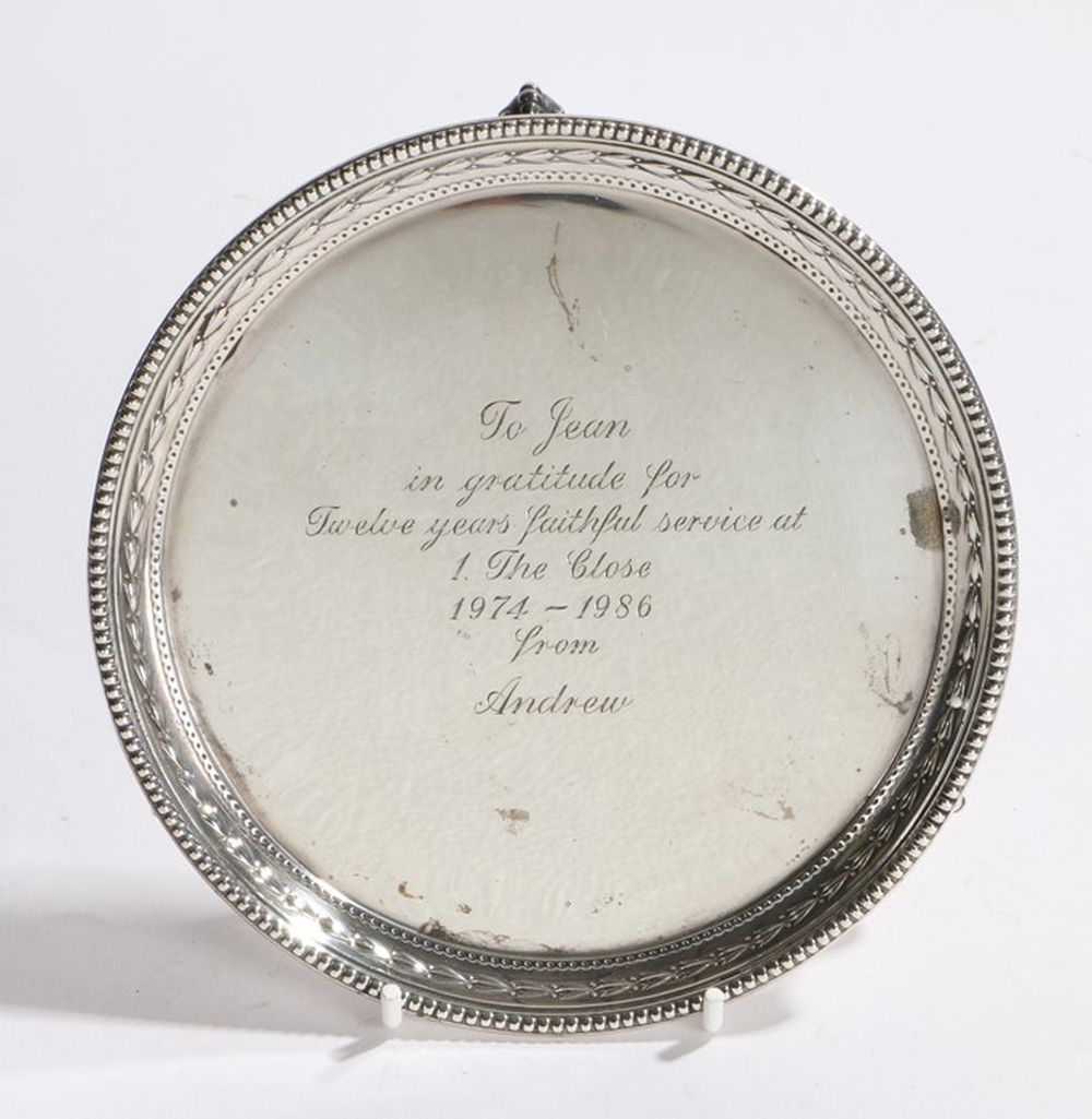 Elizabeth II silver card tray, Sheffield 1979, maker James Dixon & Sons Ltd, with bead and harebell