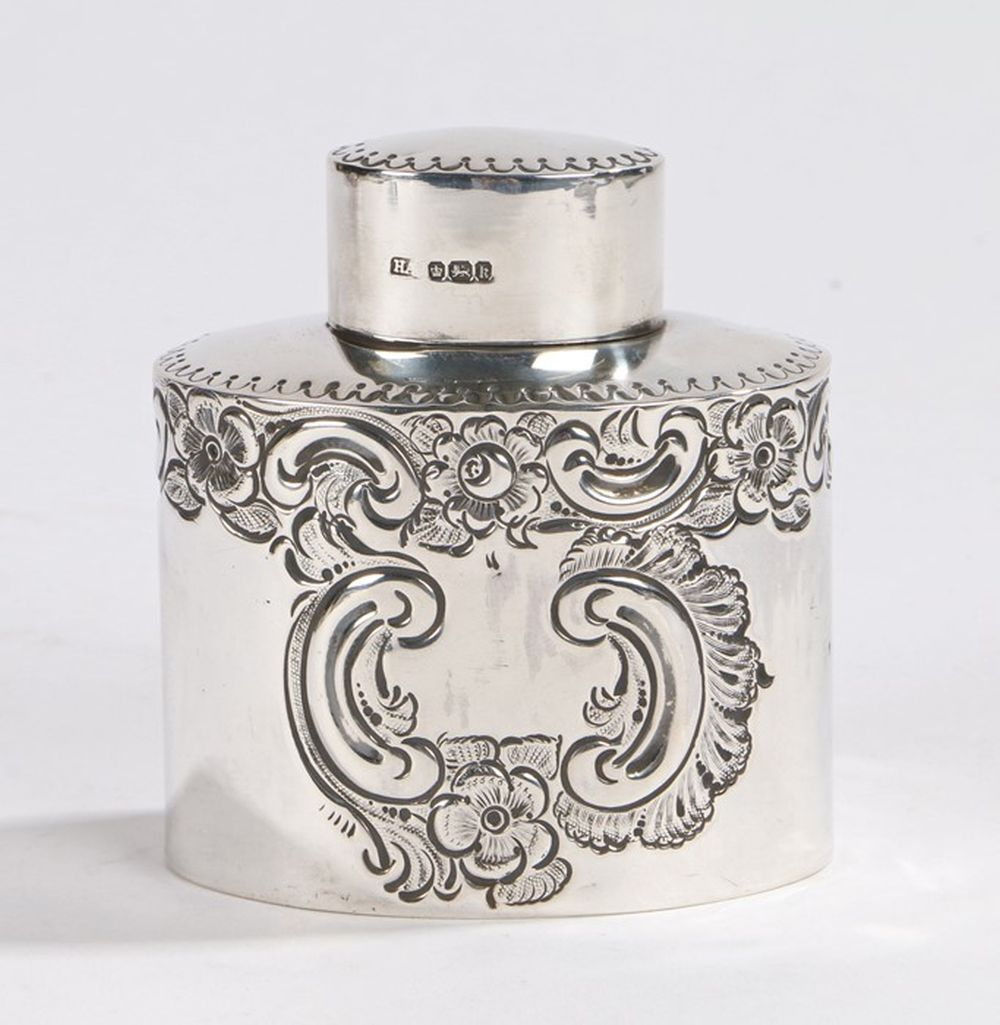 Edward VII silver tea caddy, Sheffield 1902, maker Atkin Brothers, with oval detachable cover, the b