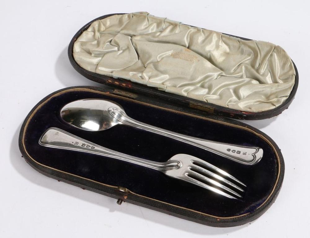 Victorian silver christening set, London 1893, maker John Aldwinckle & Thomas Slater, consisting of
